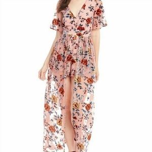 GB Velvet Burnout Floral Maxi Romper Small  NWOT